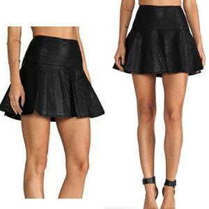Free People Trumpet Vegan Leather Mini Skirt